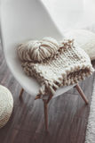 Winter knitting by the window Royalty Free Stock Images