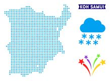 Freeze Koh Samui Map. Winter Koh Samui map. Vector geographic scheme in blue winter colors. Vector mosaic of Koh Samui map composed of snow dots royalty free illustration