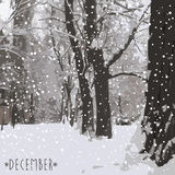 Winter kommt Weiße Schneeflocken auf einem blauen Hintergrund Stockfotos