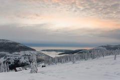 Winter in Krkonose 4. Winter in Krkonose Czech mountains near Maly Sisak hill Royalty Free Stock Photography