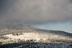 Winter in Krkonose 5. The sight to Peter�s houses in Krkonose mountain stock photography
