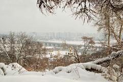 Winter in Kyiv, foggy cityscape, Ukraine Stock Photo