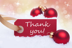 Winter Label with Thank YOu Stock Image