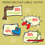 Winter Labels. Winter Discount Labels, Christmas Greeting Card Royalty Free Illustration