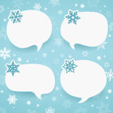 Winter labels in form of speech bubbles Stock Image