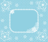 Winter lace. Winter related background with lace, frame and snowflakes for greeting cards, photo decoration etc Royalty Free Stock Images