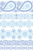 Winter  lace.Paisley seamless border set Royalty Free Stock Photo