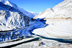 Winter in Ladakh. Full of snow cover the mountains and town in winter of Leh,Ladakh Royalty Free Stock Photography