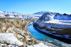 Winter in Ladakh. Full of snow cover the mountains and town in winter of Leh,Ladakh Royalty Free Stock Image