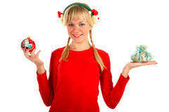 Winter lady with christmas toy and gift Stock Images