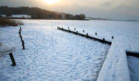 Winter lake. Sunny  iced  lake in denmark in winter Stock Photography