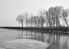 Winter Lake. Bronte Beach Park Oakville Ontario, Winter black and white Royalty Free Stock Image