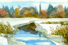 Winter lake. Watercolor landscape. Melted lake among the snow-covered steppe Stock Images