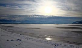 Winter lake. (Lipotvska Mara - water basin in region Liptov, Slovakia royalty free stock photography