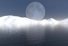 Winter Lake. Digital render of a mountain lake in mid-winter, lit by a bright full moon royalty free illustration