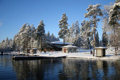 Winter lake. Recreation center by the lake Royalty Free Stock Photos