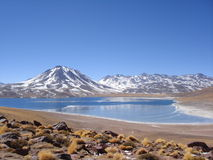 Winter Lake. This Chilean altiplanic lake is halved by solid ice and very cold water. The amazing proximity between the Andean Range, the dessert, and water Royalty Free Stock Photos