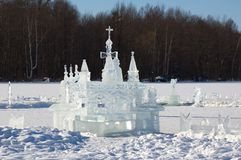 On the winter lake. The ice castle on the winter lake Stock Images
