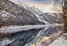 Winter Lake in Alps Stock Photography