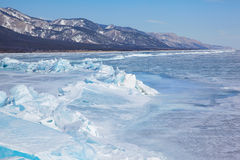 Winter lake Baikal Stock Photo