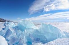 Winter lake Baikal Stock Photo