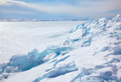 Winter lake Baikal Stock Photography