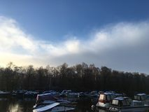 Winter Lake with boats royalty free stock images
