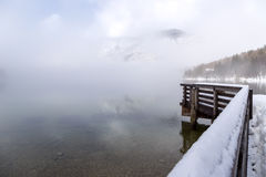 Winter on the lake Bohinj Royalty Free Stock Images