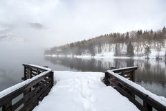 Winter on the lake Bohinj Royalty Free Stock Photography
