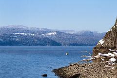 Winter in lake Coeur d' Alene Royalty Free Stock Images
