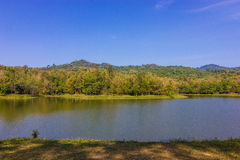 Winter at the Lake. Early winter green on a country lake in Thailand Royalty Free Stock Photo