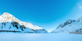 Winter lake Fedaia panorama (Trentino , Italy). Stock Image