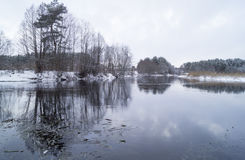 Winter lake. In the forest Stock Photography