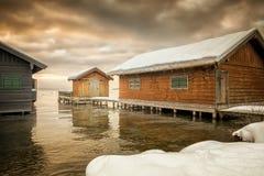 Winter lake huts Royalty Free Stock Photography