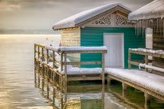 Winter lake huts Royalty Free Stock Photo