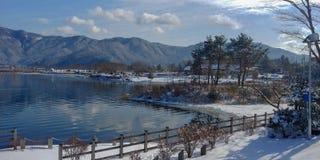 Winter at Lake Kawaguchiko stock photos
