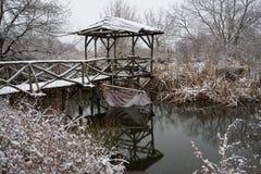 Winter lake landscape stock photography