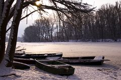 Winter lake landscape Royalty Free Stock Image
