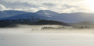 Winter lake landscape. Frozen lake with mist in the distance. (Loch Morlich, Scottish Highlands. This area is in the Cairngorm National Park Royalty Free Stock Images