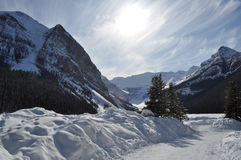 Winter Lake Louise. Early morning in a snowy Lake Louise Stock Photo