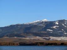 Winter Lake and mountains royalty free stock photos