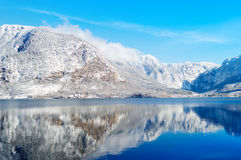 Winter lake between mountains Royalty Free Stock Photography