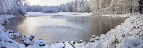 Winter lake panorama Royalty Free Stock Photo