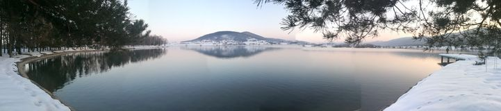 Winter lake panorame stock images