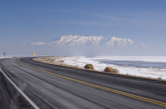 Winter lake road Stock Image