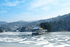Winter lake scenery Royalty Free Stock Photography