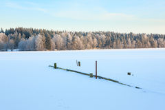 Winter lake scenery in finland Royalty Free Stock Images