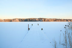 Winter lake scenery in finland Royalty Free Stock Photo