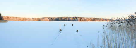 Winter lake scenery in finland Royalty Free Stock Photography