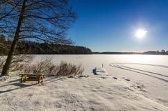 Winter lake scenery in Sweden Stock Image